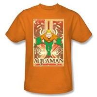 Aquaman Portrait Box Orange Adult T-shirt  - Aquaman - | TV Store Online