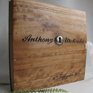 Personalized  wedding album Reclaimed wood Photoalbum Hand Carved Woodland