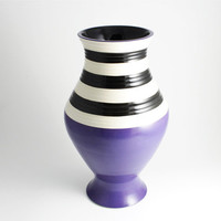 Beetlejuice Purple Black and White Stripe Vase by LLTownleyCeramic