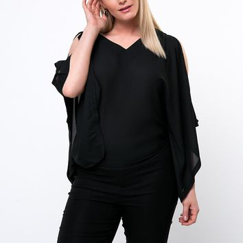 Streetstyle  Casual Open Shoulder Solid Plus Size T-Shirt In Black