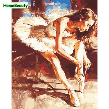 Oil paintings drawing by numbers on canvas ballet dancing girl pictures by numbers for the kitchen wall art home decor W6687