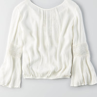 AEO LACE-UP BELL SLEEVE TOP