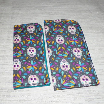 Sweet Sugar Skulls on Gray Your Choice of Sunglass or Eyeglass Case