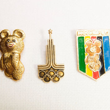 "Pins badge sport symbol of Olympic Games 1980 ""Misha"" bear USSR vintage"