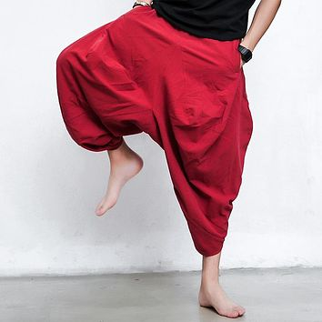 Summer autumn men's brand fashion red pants men loose baggy pants trousers linen night club Haren pants