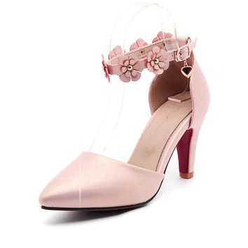 Shoes woman high heel gold sexy wedges women shoes pumps with flowers 2017 spring autumn  high heels big plus size 41 42 43