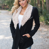All Cuddled Up Faux Fur Jacket Black