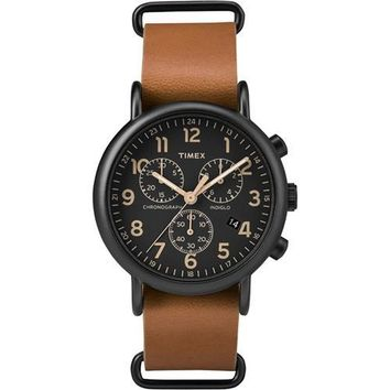 Timex Weekender&reg Chrono Oversized Watch - Black Dial/Brown Strap