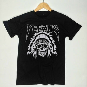 Yeezus shirt indian skull kanye west tshirt tour yeezy clothing unisex size S,M,L,XL,XXL,and 3XL Black