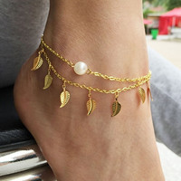 Leaf Tassels Two Layer Faux Pearl Beach Sandal Ankle Chain Foot Bracelet Anklet Gifts YSH (Size: One Size) = 5658261825