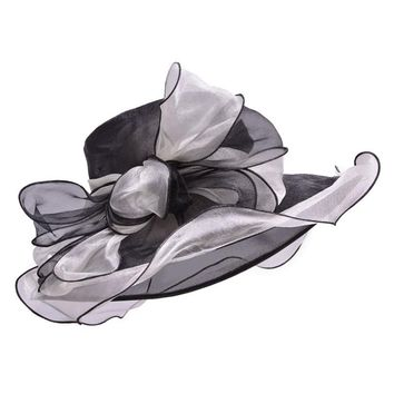 Black Sun Hats for Women Formal Organza Big Bow Kentucky Derby Church Wide Brim Hats Ladies Summer Fascinator Hat for Dress A206