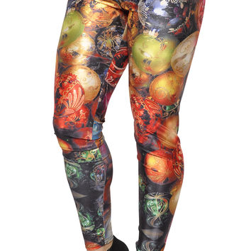 BadAssLeggings Women's Shiny Christmas Ornaments Leggings Large