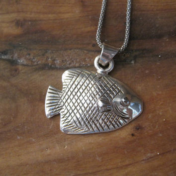 Sterlling Silver Fish Necklace - Sterling Silver Necklace - Silver Necklace - Beach Jewelry - Nautical Jewelry