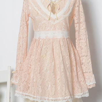 Long Sleeve Floral Lace Princess Mini Dress
