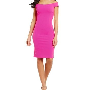 Eliza J Off-The-Shoulder Solid Sheath Dress | Dillards