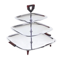 Glo-Hill 3-Tier Serving Tray, Chrome, Burgundy
