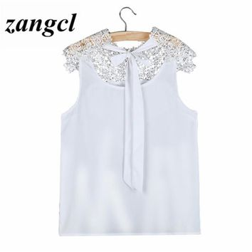 Zangcl Women Sleeveless Blouse Black White S-XXL Sexy Halter Lace Chiffon Shirts Casual Slim High Collar Tops