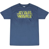 Star Wars Old Style Yellow Logo Men's Blue T-shirt