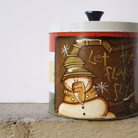 Snowman Canister Christmas Decoration Hand Painted Rustic Snowman Canister With Lid In Ivory Green Yellow And Orange Let The Flakes Fly