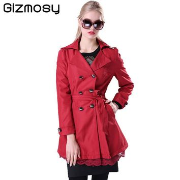 Women Trench Coat 2016 Korean Plus Size Lace Slim Double-Breasted Trench Coats Ladies Spring Outwear Clothing 7 colors BN015
