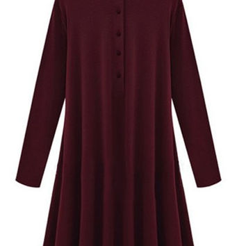Button Design Long Sleeve Flounce Dress