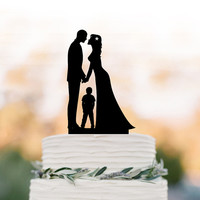 Bride and groom wedding cake topper with boy, birthday cake topper,  unique cake topper, funny wedding cake topper topper with child