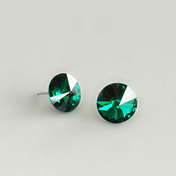 Sophisticated Emerald Crystal Stud Earrings