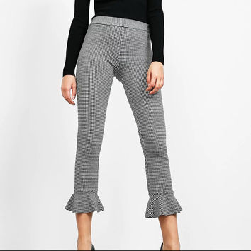 Women  Flare Pants Zipper Ankle-Length Pants
