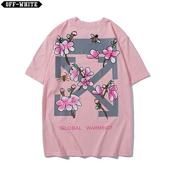 DCCK2 1491 OFF WHITE Snowflakes logo Global Warming Print T-shirt Pink