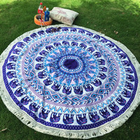 Soyi - Indian Elephant Mandala Round Beach Towel Tapestry Boho Gypsy Polyester Tassel Tablecloth Home Decor
