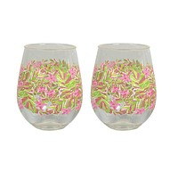 Stemless Acrylic Wine Glasses in Jungle Tumble by Lilly Pulitzer