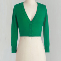 Short Length Long Sleeve Cropped The Dream of the Crop Cardigan in Kelly Green