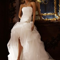Organza and Tulle High-Low Gown with Beaded Flower - David's Bridal - mobile