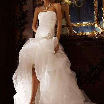 Organza and tulle high low gown with from david 39 s bridal for Tulle high low wedding dress