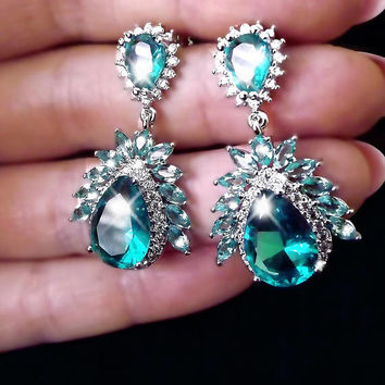 Vintage Aquamarine earrings, chandelier earrings, aqua crystal earrings, sterling silver earrings, statement earrings, boho jewelry, green