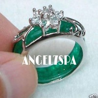 JADE GREEN SILVER RING SIZE 7 LOVE SITUATIONS AND 7 WISHES 14 DAYS