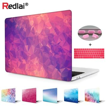 "Laptop Case For Apple MacBook Air Pro Retina 11 12 13 15 For New Mac A1932 Pro 13 15"" with Touch Bar Geometric Print Hard Cover"