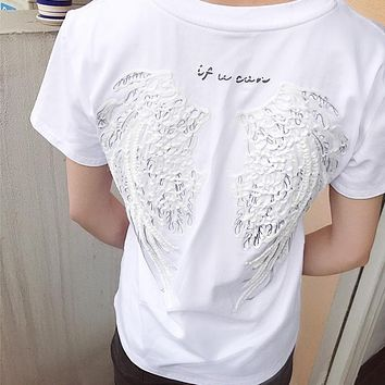 Wing Embroidery Round Neck Tunic Shirt Top Blouse