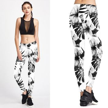 Yoga Pants Printing Flowers Women Sexy Fitness Pants Running Jogging Leggings High Elastic Slim Women Trousers Female Sports