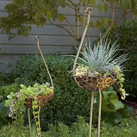 Recycled Metal Ostrich Planter | Unique Planter, Fun Planter