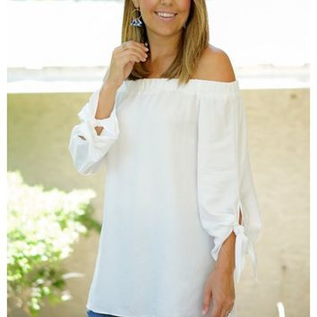 White off the shoulder top with sleeve ties | Ivey | escloset.com