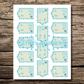 Holiday gift tags- Let it Snow- snowflakes- Sheet of 14- digital print, instant download, printable gift tags
