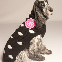 Chilly Dog Black Polka Dots with Flower Dog Sweater