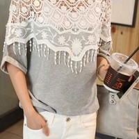 Loose Fitting Elegant Floral Cutout Lace Spliced T-shirt