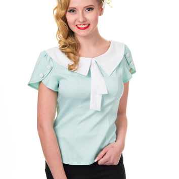 Banned 60's Vintage Retro Two Tone Aqua Tie Neck Sweetheart Top Shirt