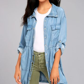 London Skies Light Blue Chambray Jacket