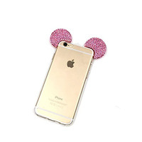 "iPhone 6S Plus Case, MC Fashion Flexible Mickey Mouse 3D Bling Crystal Rhinestone Ears TPU Soft Shell Case Apple iphone 6S Plus 5.5""(2015) & iphone 6 plus 5.5""(2014) (Bling-Pink)"