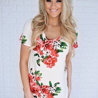 Ivory Floral Scoop Neck Top
