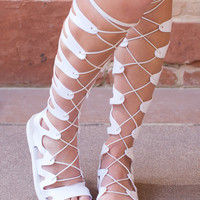 Emilia Jelly Gladiator Sandals - White