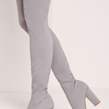 Missguided - Pointed Toe Neoprene Over The Knee Boot Grey